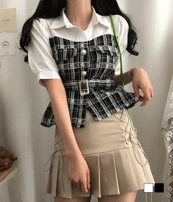 Lexi tweed belted short sleeve blouse