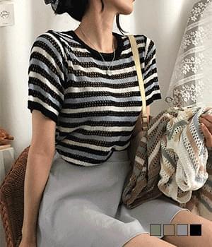 Fondant Striped Bookle Short Sleeve Knitwear