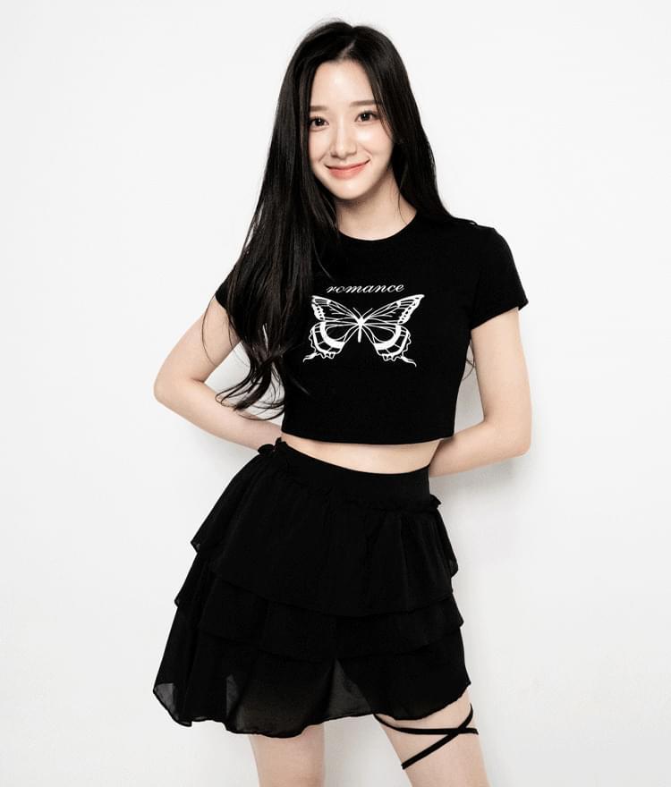 Butterfly Print Crop T-Shirt