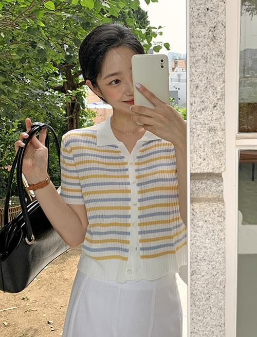 striped cropped short sleeve cardigan