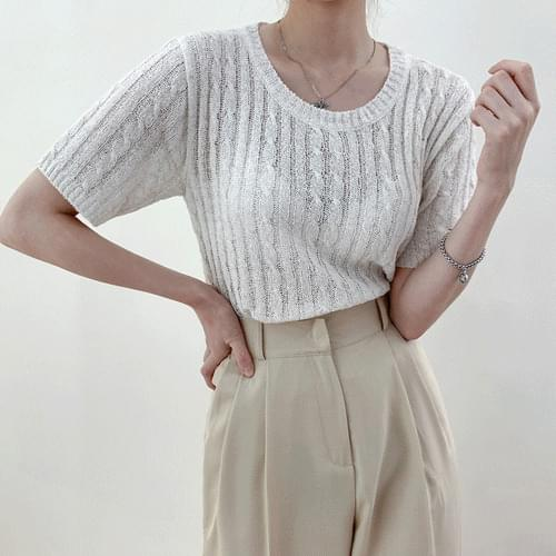 Cool Touch Cool Twisted Cable Round Short Sleeve Summer Knitwear T#YW792