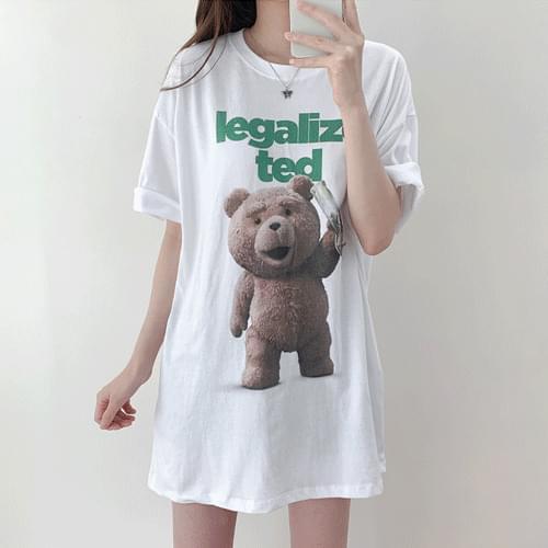 Unisex Teddy Bear Teddy Over Fit Short Sleeve Tee T#YW794