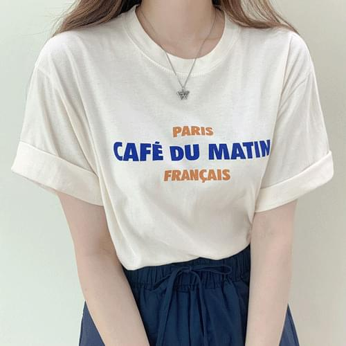 Basic Coffee Lettering Short Sleeve T-shirt T#YW784