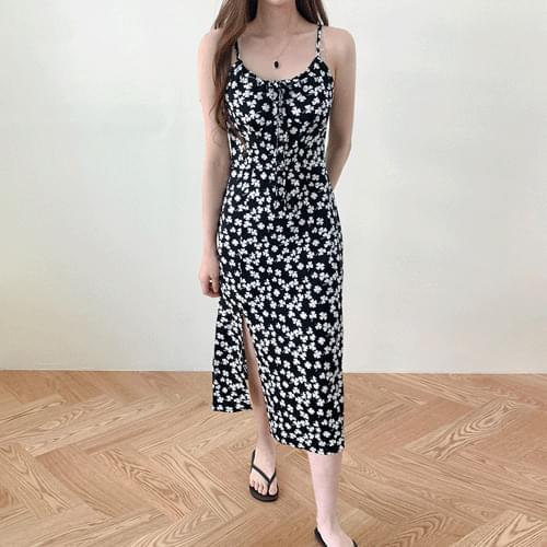 Black Flower String Sleeveless Bustier Long Dress OPS T#YW796