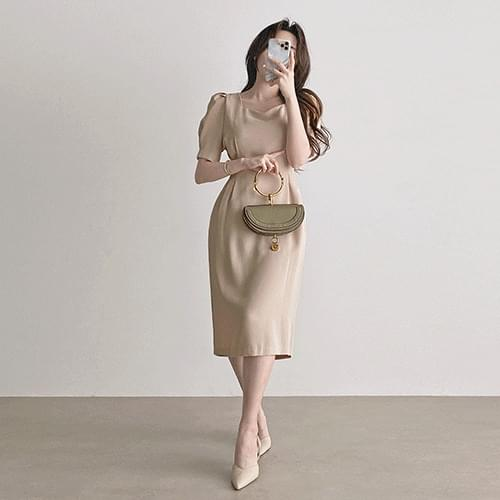 Slim fit heart neck puff pin tuck guest look long Dress 2color