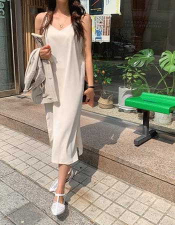 Feminine mood #Satin Sleeveless slip Dress
