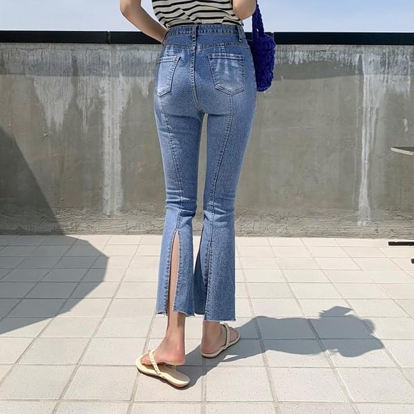 Monian* back slit Flared denim pants