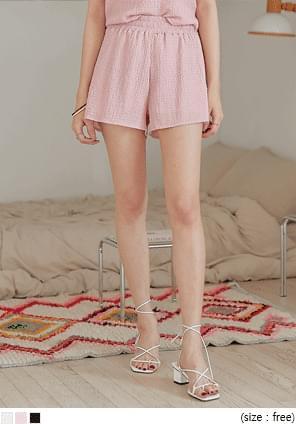 Wrinkled Banded Mini Shorts