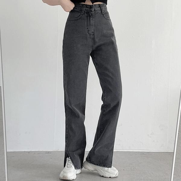 Teddy Slit Black Denim Pants