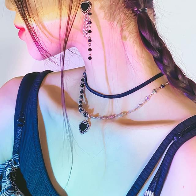 Black Heart Set - Necklace