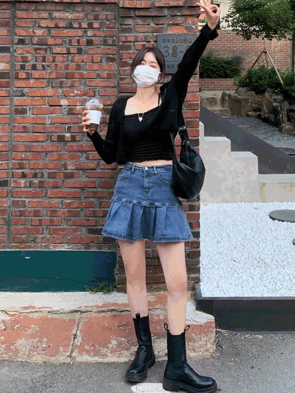 Retro Pleated Denim Skirt