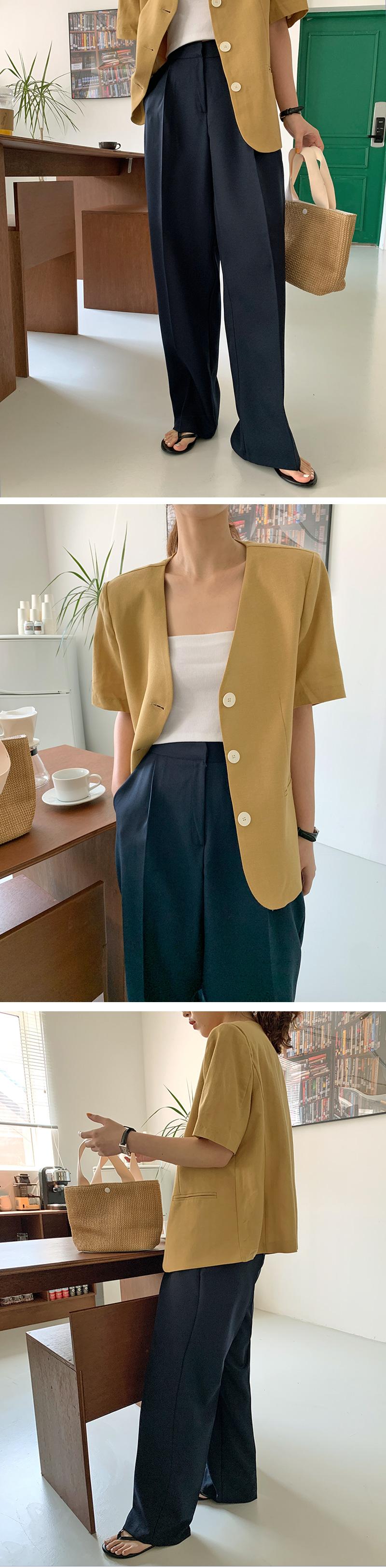 Origin Collarless Short Sleeve Jacket