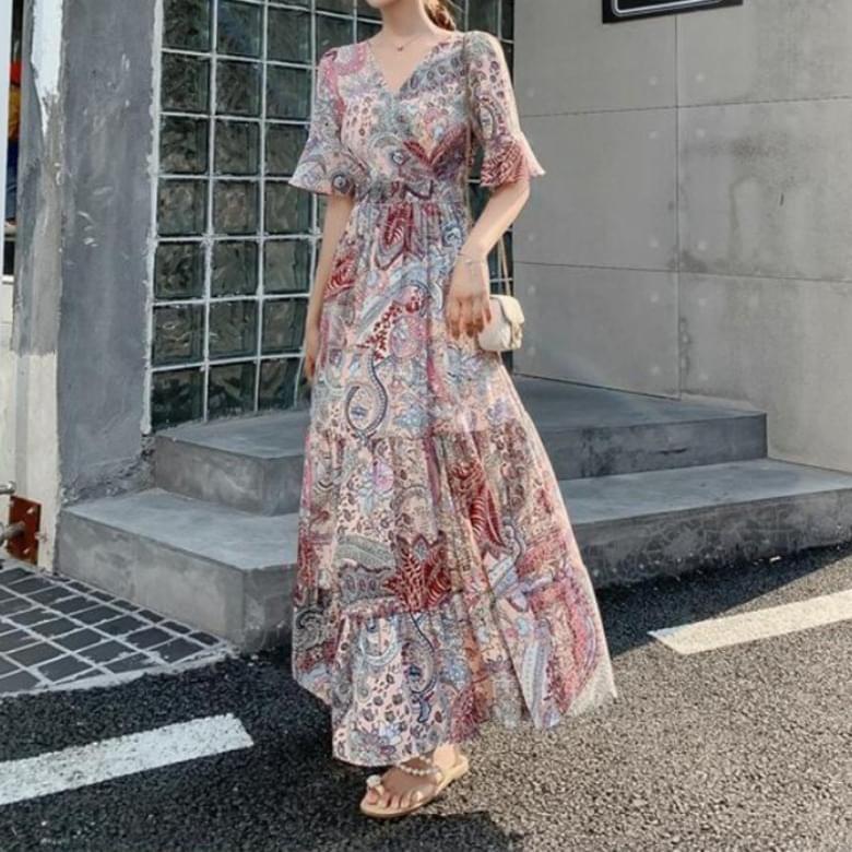 Vacation Summer Paisley Chiffon Dress