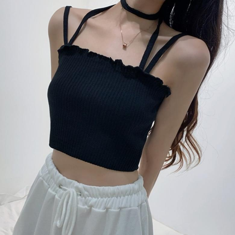Unique Bustier Ruffle The Line Strap Sleeveless