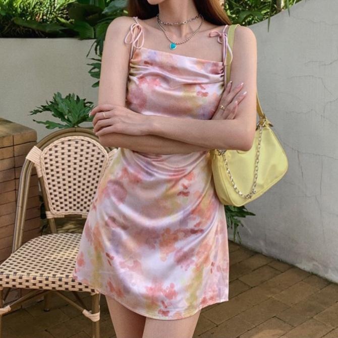 Flower Shirring Printed Ribbon String Sleeveless Dress