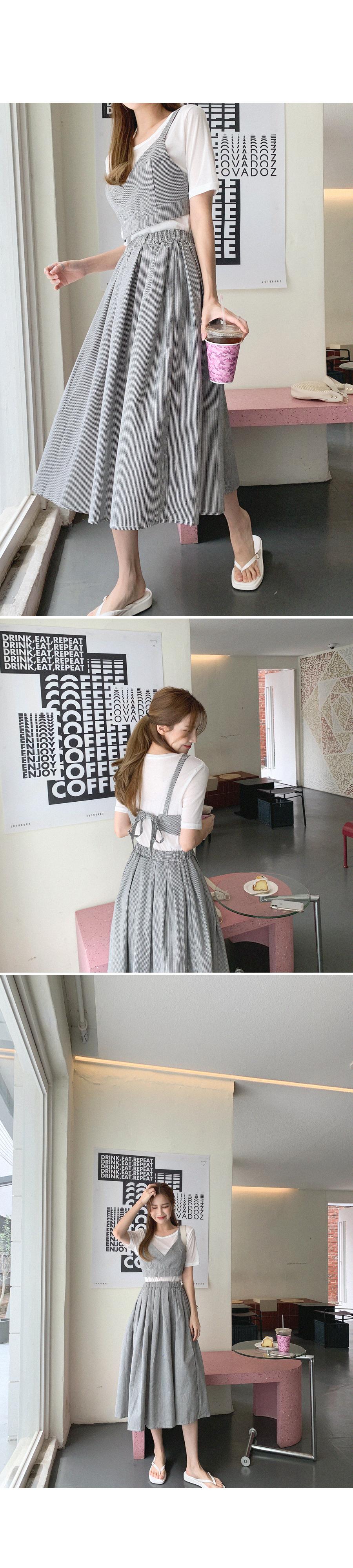 Girlish Stripe Tee + Bustier + Skirt SET
