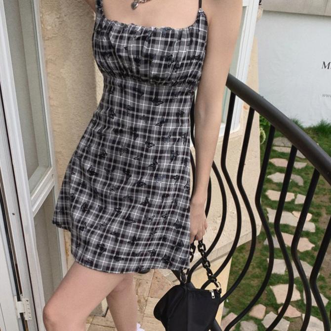Check French Square Neck Line Dress