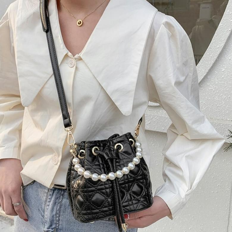 Pearl Line Mini Bucket Cross Shoulder Bag
