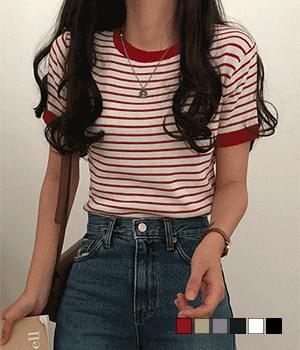 Maran Striped Short Sleeve Knitwear
