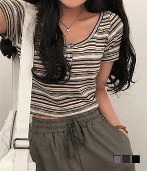 Nello Striped Crop Knitwear T-shirt