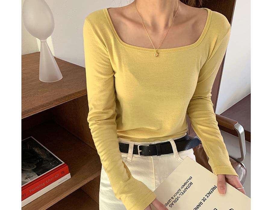 Square neck slim T-shirt