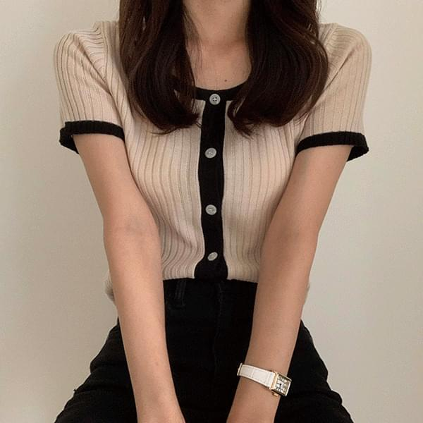 color matching square neck short sleeve cardigan