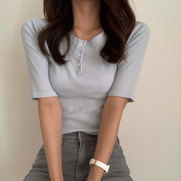 button summer Ribbed short sleeve t 短袖上衣