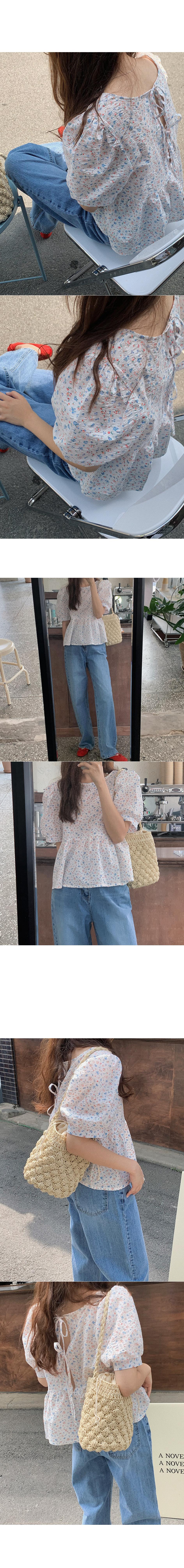 可愛碎花後綁帶鏤空襯衫