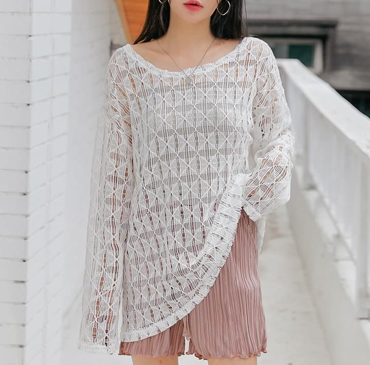 See-Through Boxy Knit Top