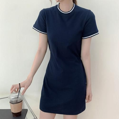 Round Color Short Sleeve Sporty Long Mini Dress OPS T#YW804