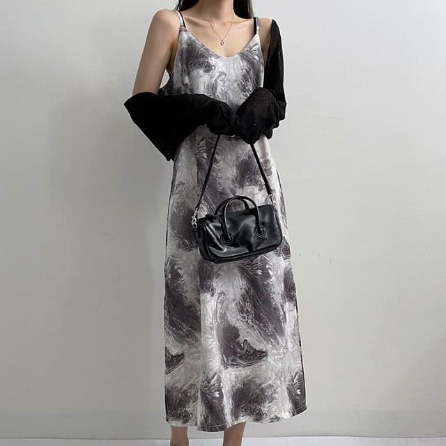 Water Printed V Bustier Dress