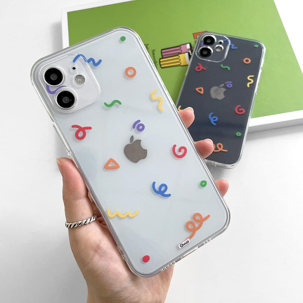 color drawing pattern transparent iphone case