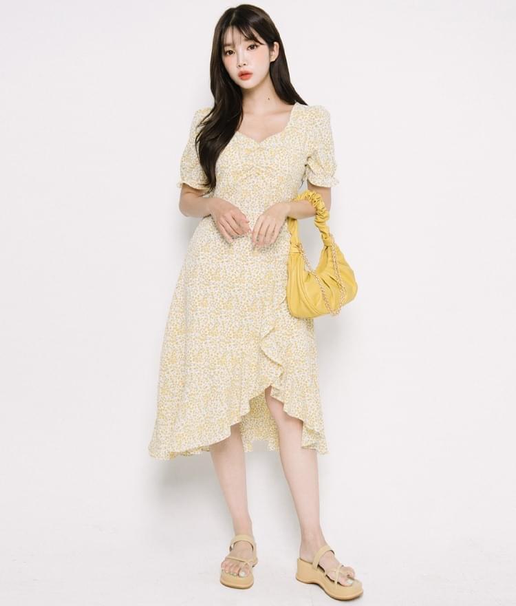 Asymmetrical Hem Ditsy Pattern Dress