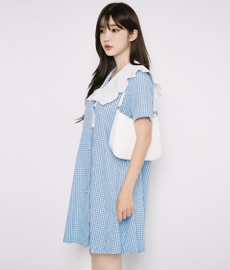 Frill-Trimmed Collar Check Dress