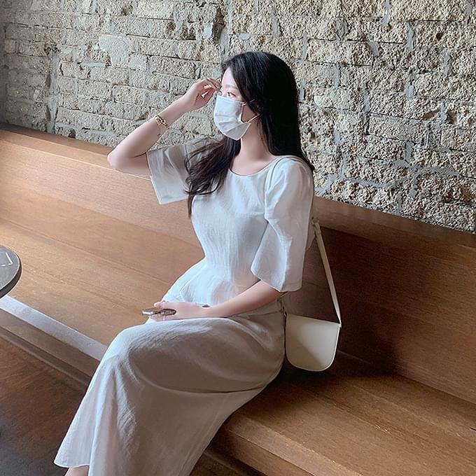 Elegant Summer Linen Puff Sleeve Long Short Sleeve Dress