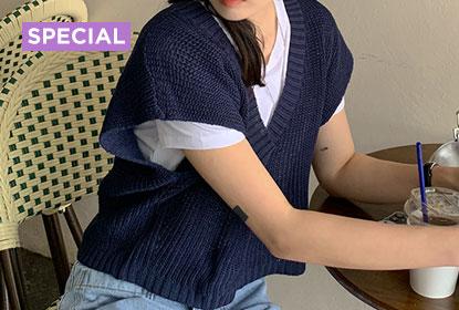 1 Knit Vest 6 Styling : Wingsleeve crop linen vest