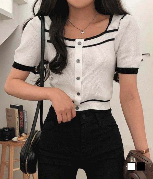 Coco Color Matching Square Neck Short Sleeve Knitwear