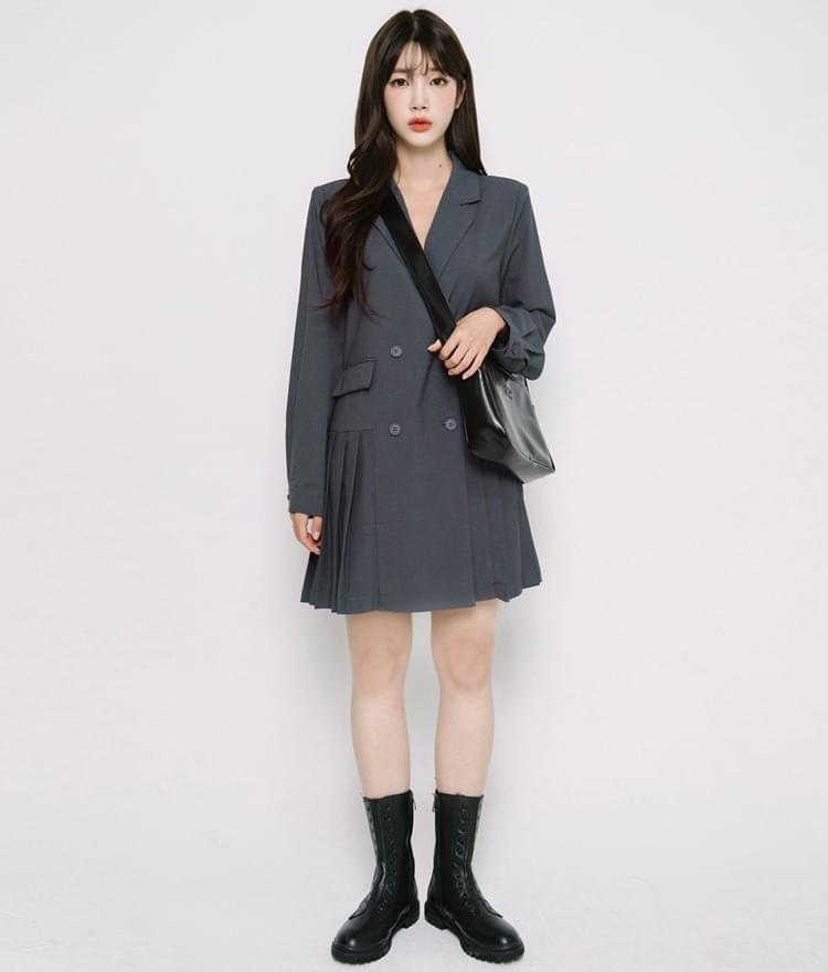 Pleated Accent Jacket Dress