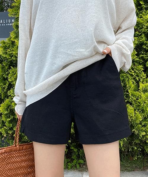 Linen back band A-line shorts