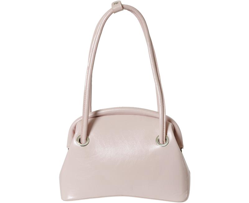Unique handle leather shoulder bag