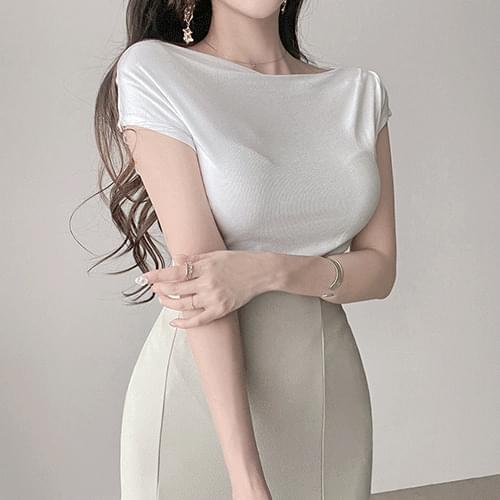 Gorgeous goddess fit lip neck drape sleeveless short sleeve shirring tee 4color