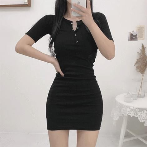 Short-sleeved Dress with 5 Buttons and Buttons