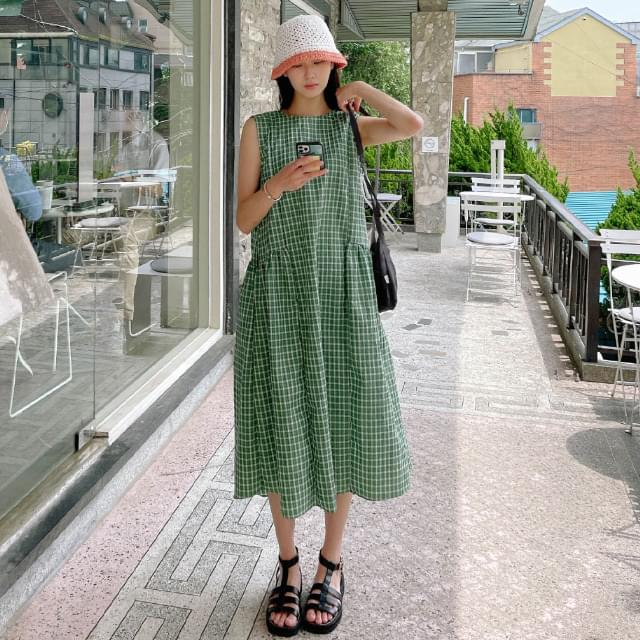 Juny Loose-fit Check Long Dress 長洋裝