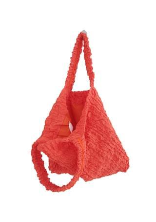 shirring color shoulder bag