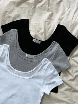 More U Neck Tight Crop Short Sleeve