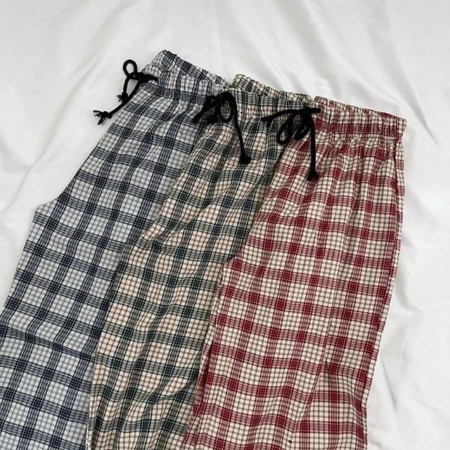 Lulu Check Wide Long Pants