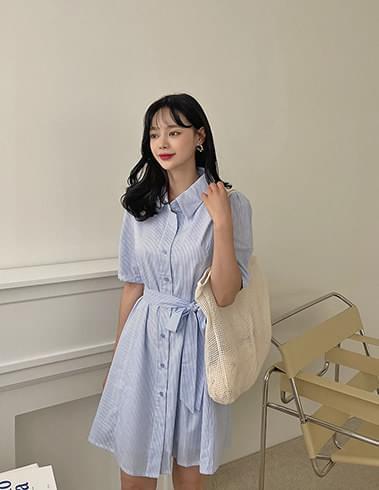 Cland Stripe Collar Neck Ribbon Mini Dress