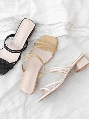 2way diagonal strap mules & slingback sandals 11028