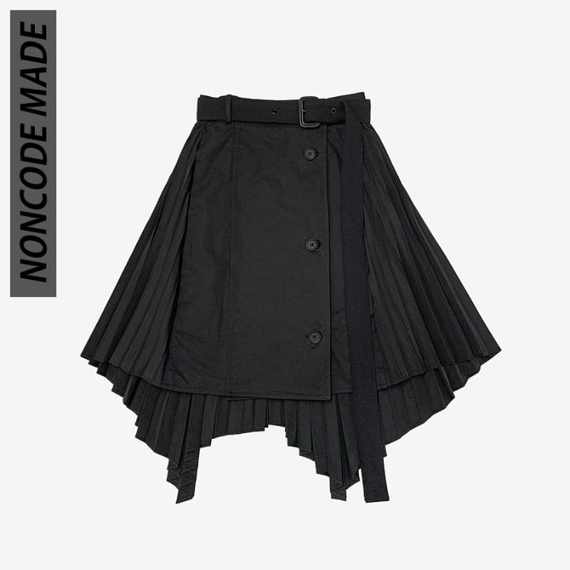 Enzo back pleated wrap skirt