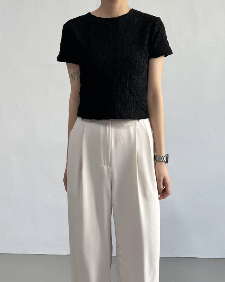 Wrinkle cropped short sleeve T-shirt